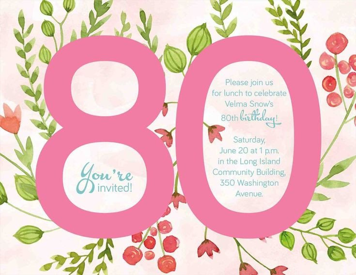 80th Birthday Invitations Templates Free Best 25 80th Birthday Invitations Ideas On Pinterest