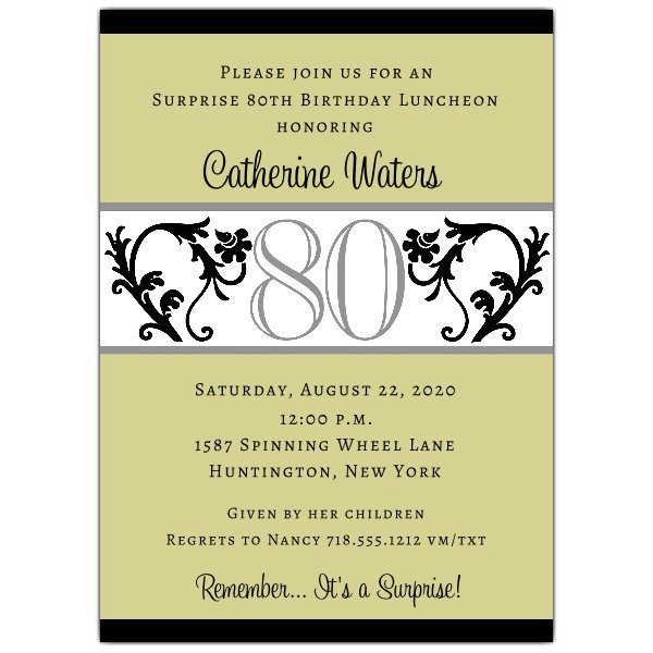 80th Birthday Invitations Templates Free Elegant Vine Chartreuse 80th Birthday Invitations