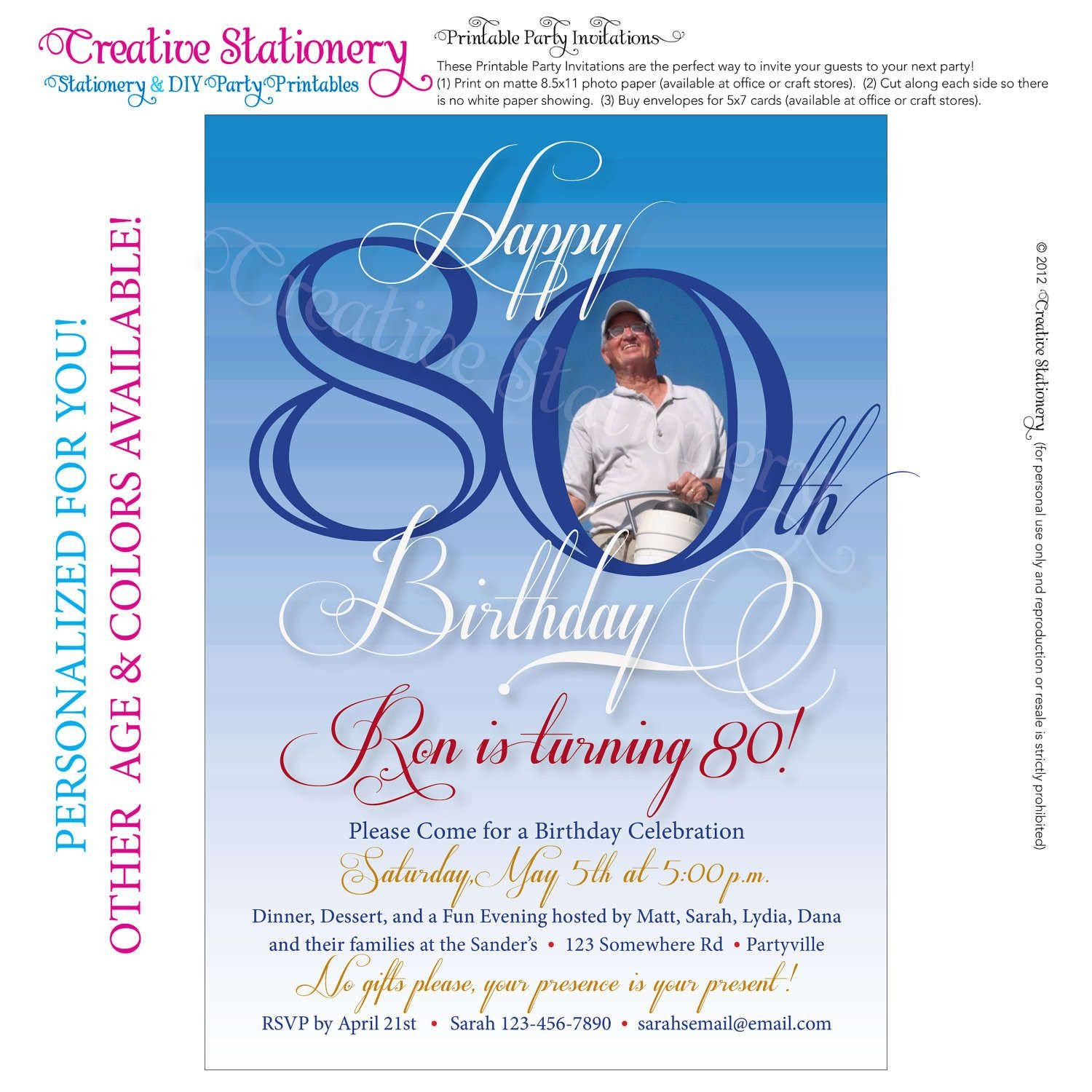 80th Birthday Invitations Templates Free Free Printable Invitations for 80th Birthday Party