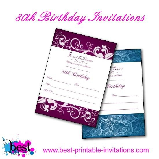80th Birthday Invitations Templates Free Printable 80th Birthday Invitations