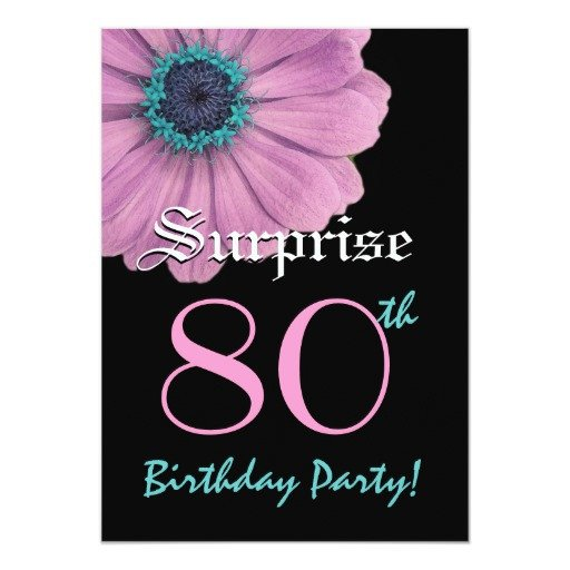 80th Birthday Invitations Templates Free Surprise 80th Birthday Template Pink Daisy Invite