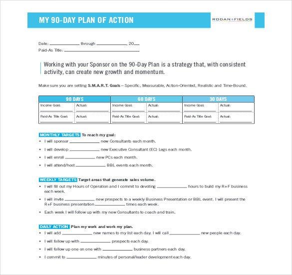 90 Day Action Plan Template 22 30 60 90 Day Action Plan Templates Free Pdf Word