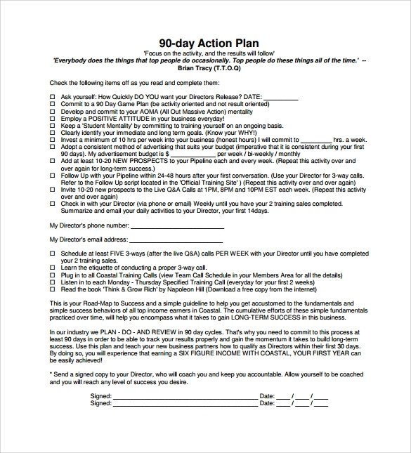 90 Day Action Plan Template Sample 90 Day Plan 15 Documents In Pdf Word