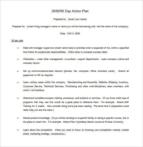 90 Day Action Plan Templates 12 30 60 90 Day Action Plan Templates Doc Pdf