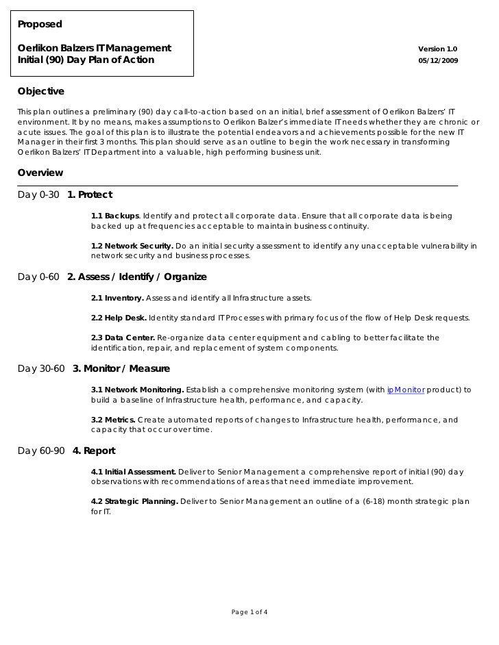 90 Day Action Plan Templates Oerlikon Balzers 90 Day Plan Action