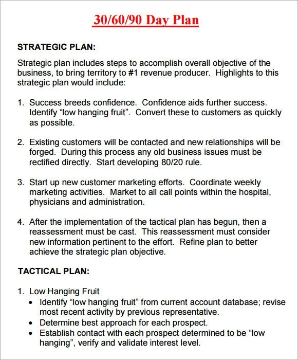 90 Day Business Plan Template 14 Sample 30 60 90 Day Plan Templates Word Pdf
