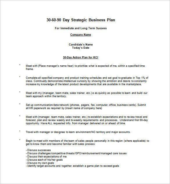90 Day Business Plan Template 22 30 60 90 Day Action Plan Templates Free Pdf Word
