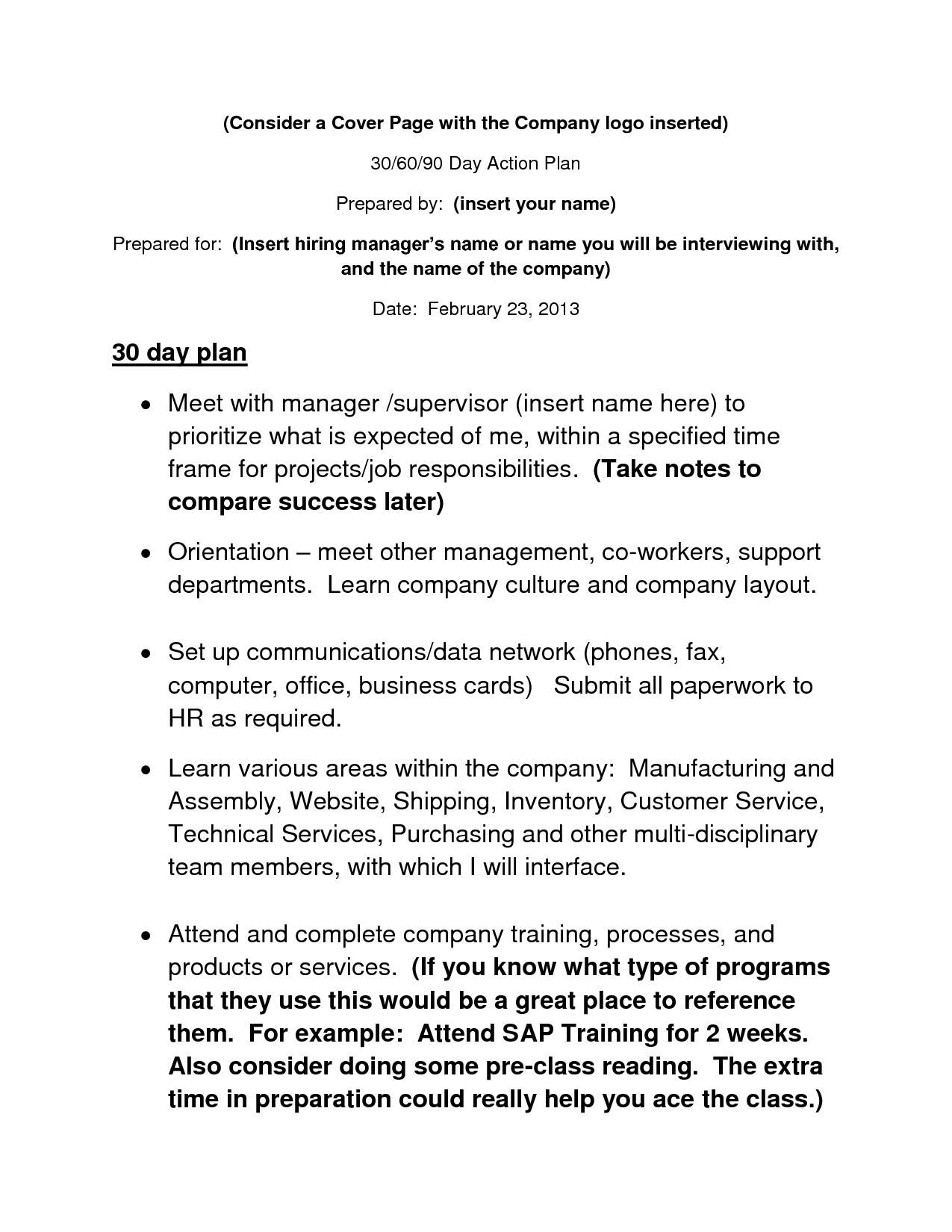 90 Day Business Plan Template 30 60 90 Day Action Plan Template Info