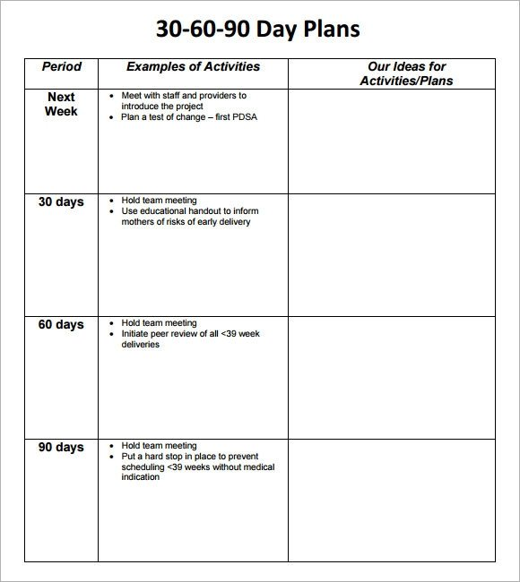 90 Day Business Plan Template 30 60 90 Day Plan Template 8 Free Download Documents In Pdf