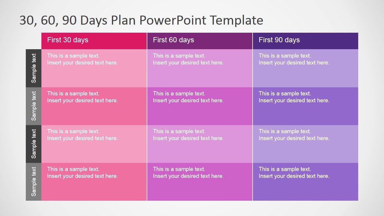90 Day Business Plan Template 30 60 90 Days Plan Powerpoint Template Slidemodel