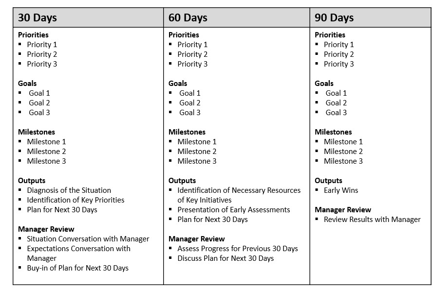 90 Day Business Plan Template First 90 Day Plan Template