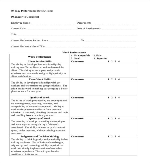 90 Day Performance Review Template 13 Sample Employee Review forms