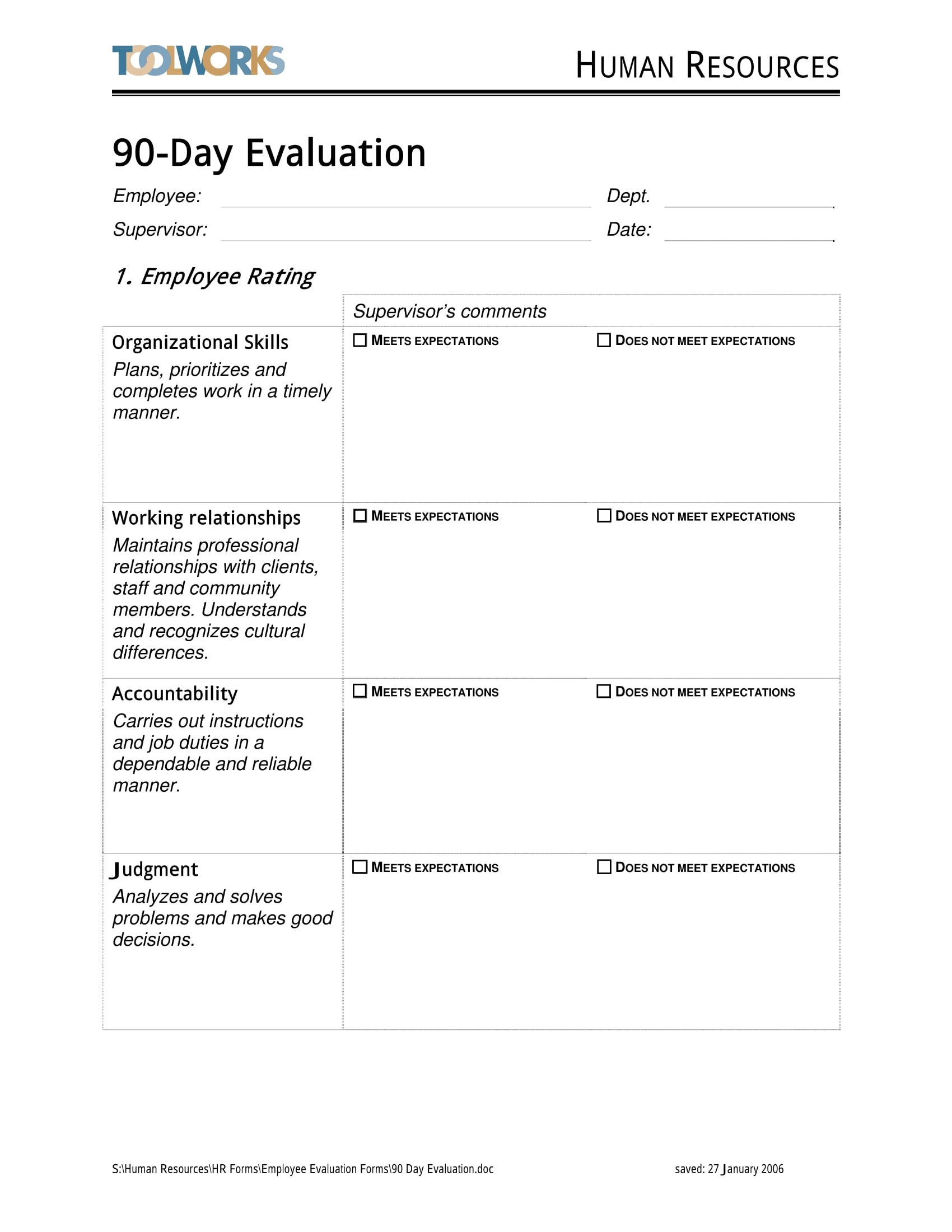 90 Day Performance Review Template 14 90 Day Review forms Free Word Pdf format Download