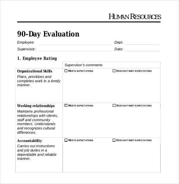 90 Day Performance Review Template 41 Sample Employee Evaluation forms to Download