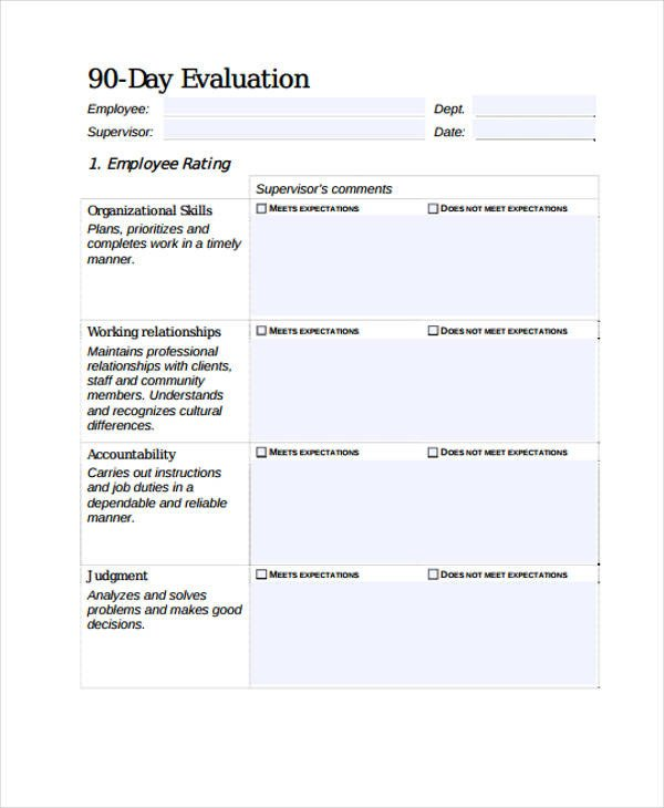 90 Day Performance Review Template Employee Evaluation form