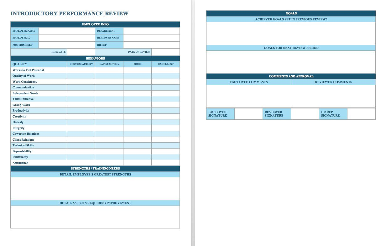 90 Day Performance Review Template Free Employee Performance Review Templates Smartsheet