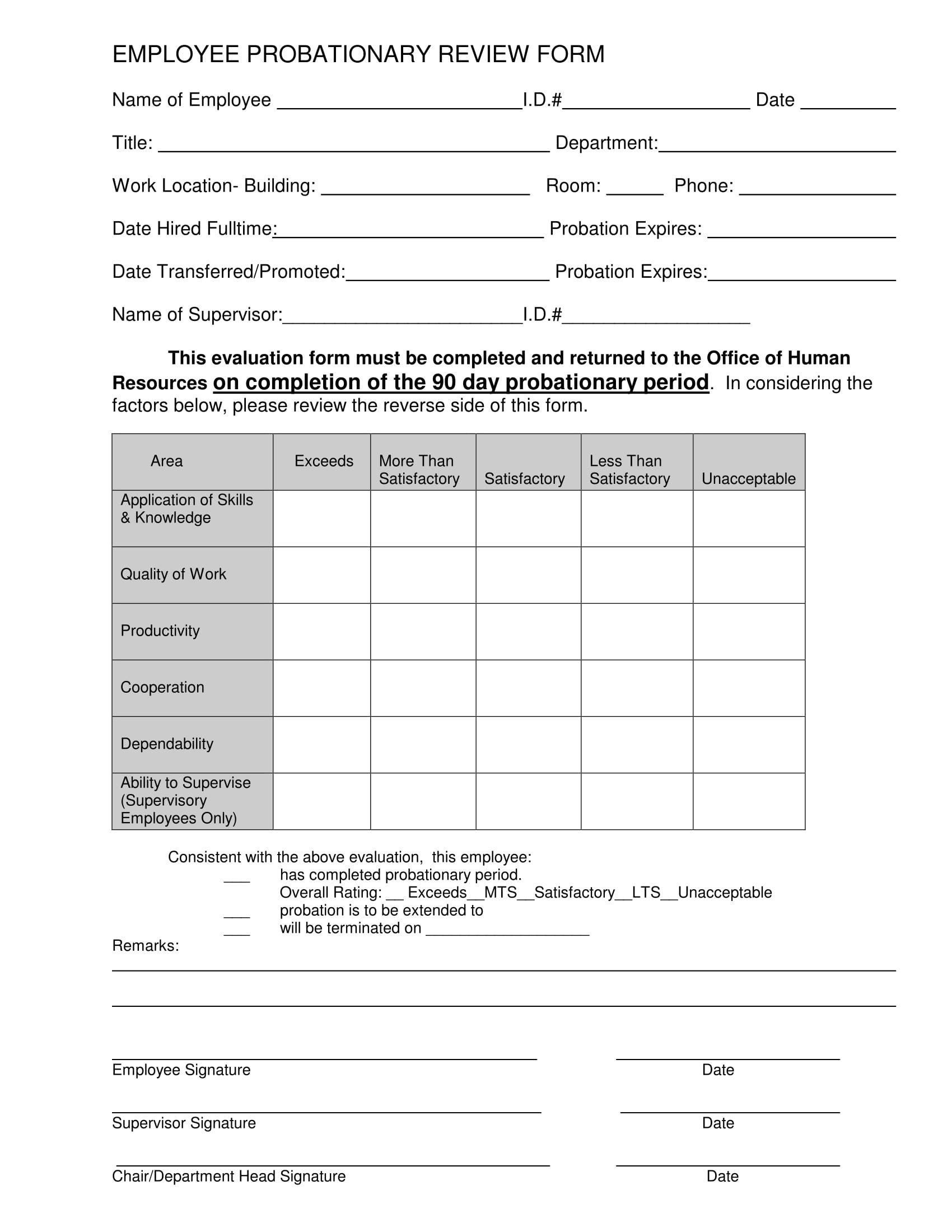 90 Day Review Template 14 90 Day Review forms Free Word Pdf format Download