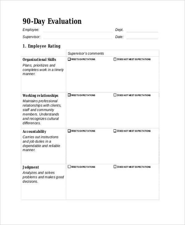 90 Day Review Template 25 Free Employee Evaluation forms