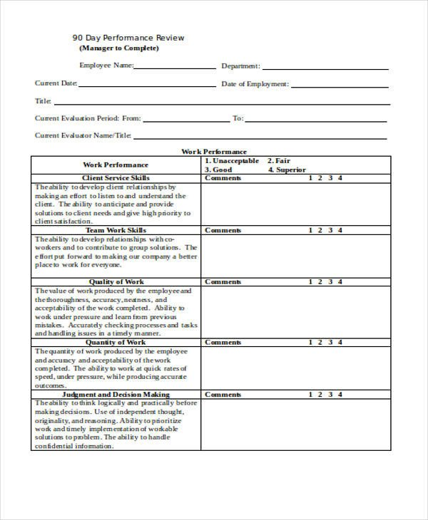 90 Day Review Template 25 Review forms In Word