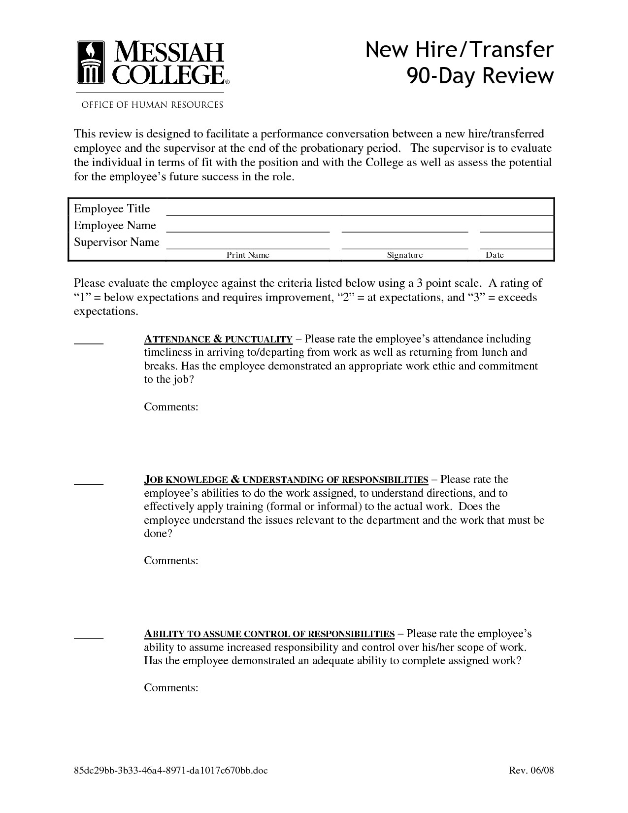 90 Day Review Template Best S Of 90 Day Probationary form 90 Day Employee