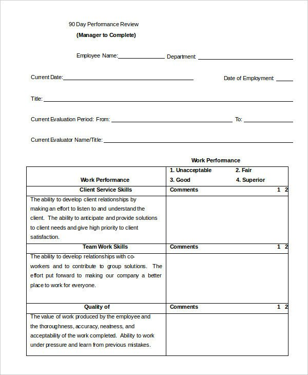 90 Day Review Template Performance Review Example 9 Free Word Excel Pdf