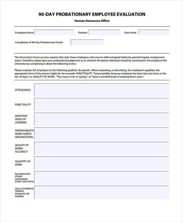 90 Day Review Template Sample 90 Day Employee Review
