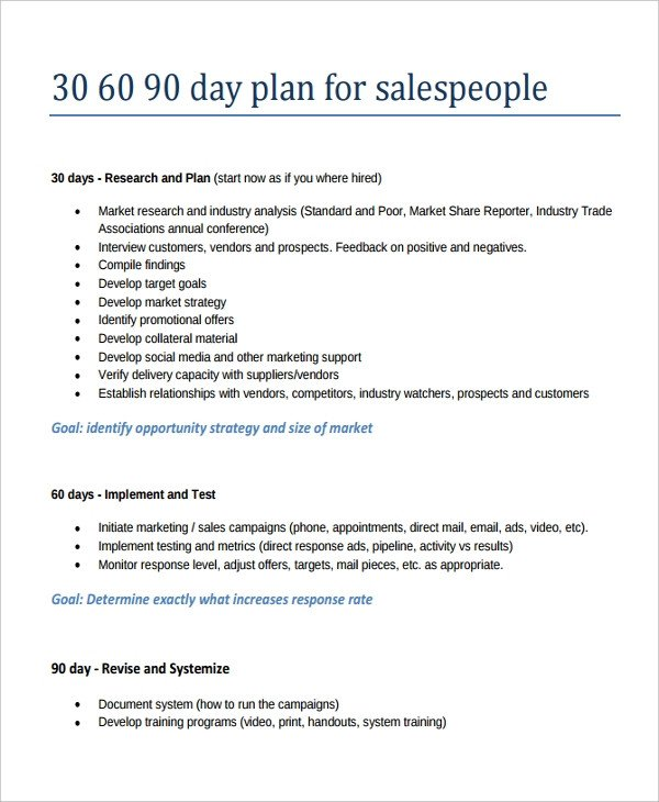 90 Day Sales Plan 22 30 60 90 Day Action Plan Templates Free Pdf Word