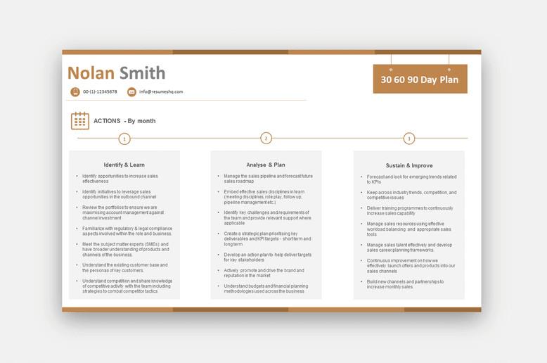 90 Day Sales Plan 30 60 90 Day Plan Sales $69 00 Resumeshq Designer