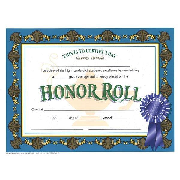 "A Honor Roll Certificate 30 Pk Va512 Honor Roll Certificates 8 1 2"" X 11"