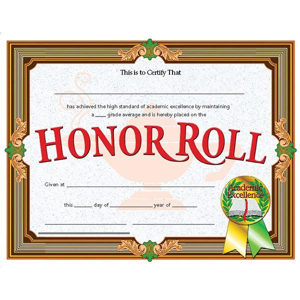 "A Honor Roll Certificate 30 Pk Va612 Honor Roll Certificates 8 1 2"" X 11"