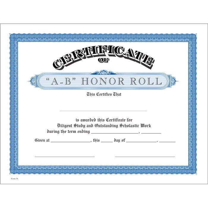 A Honor Roll Certificate A B Honor Roll Blue Certificate Jones School Supply