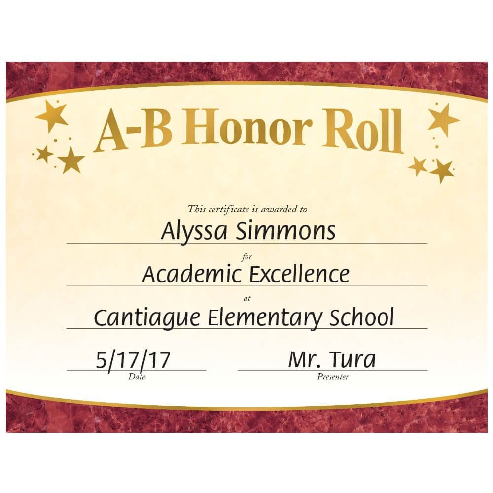 A Honor Roll Certificate A B Honor Roll Gold Foil Stamped Certificates
