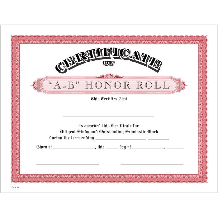 A Honor Roll Certificate A B Honor Roll Red Certificate Jones School Supply