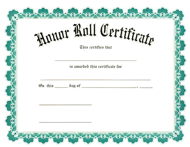 A Honor Roll Certificate Award Certificates
