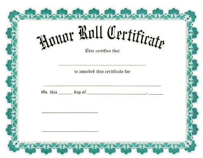 A Honor Roll Certificate Award Certificates