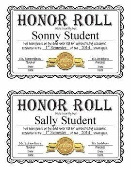 A Honor Roll Certificate Editable Honor Roll Certificates Gold Silver and