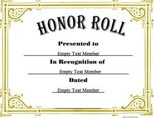 A Honor Roll Certificate Honor Roll 3 · Certificate Creator Create and Print