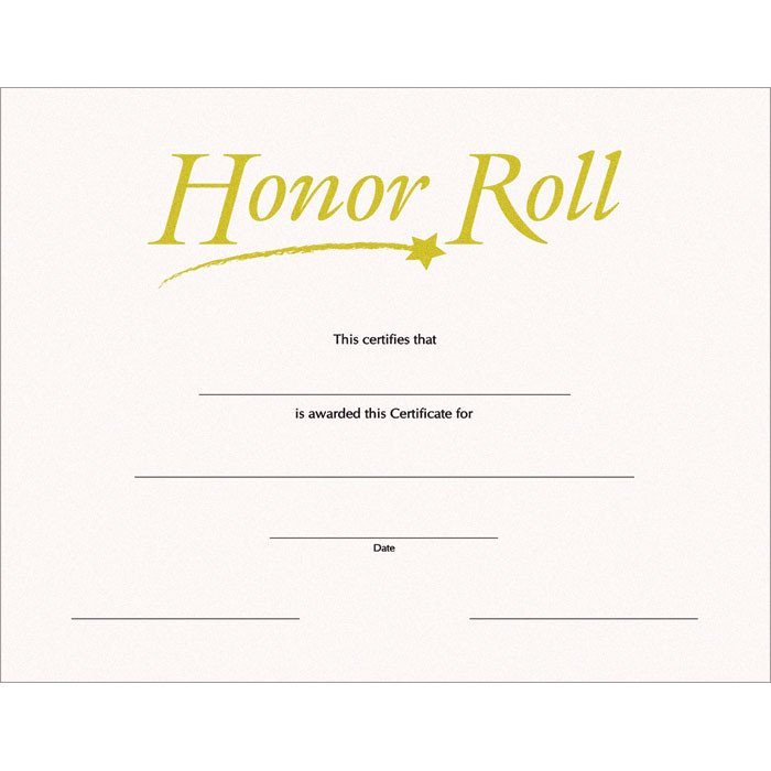 A Honor Roll Certificate Honor Roll Sw Certificate Jones School Supply