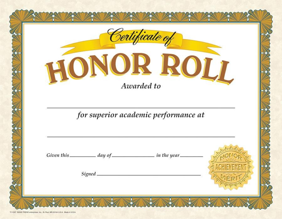 A Honor Roll Certificate View From the Valley