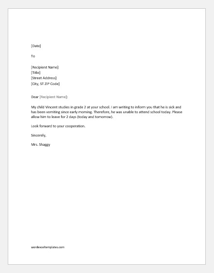 Absence Letter for School 10 Excuse Letters for Being Absent In School for Various