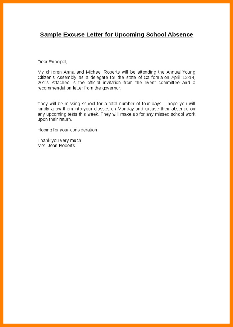 Absence Letter for School 5 How to Write An Excuse Note for School
