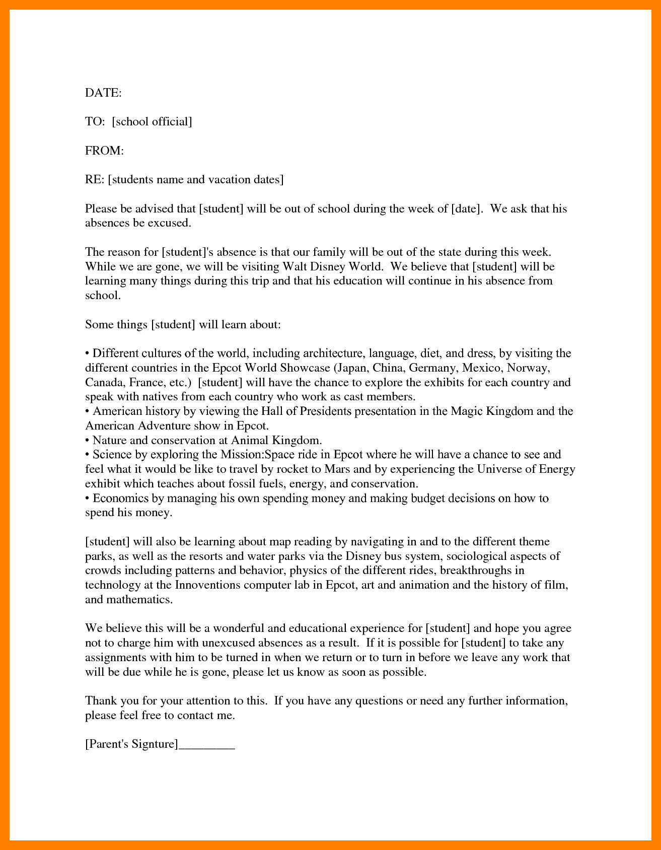 Absence Letter for School 8 Educational Leave Of Absence Letter