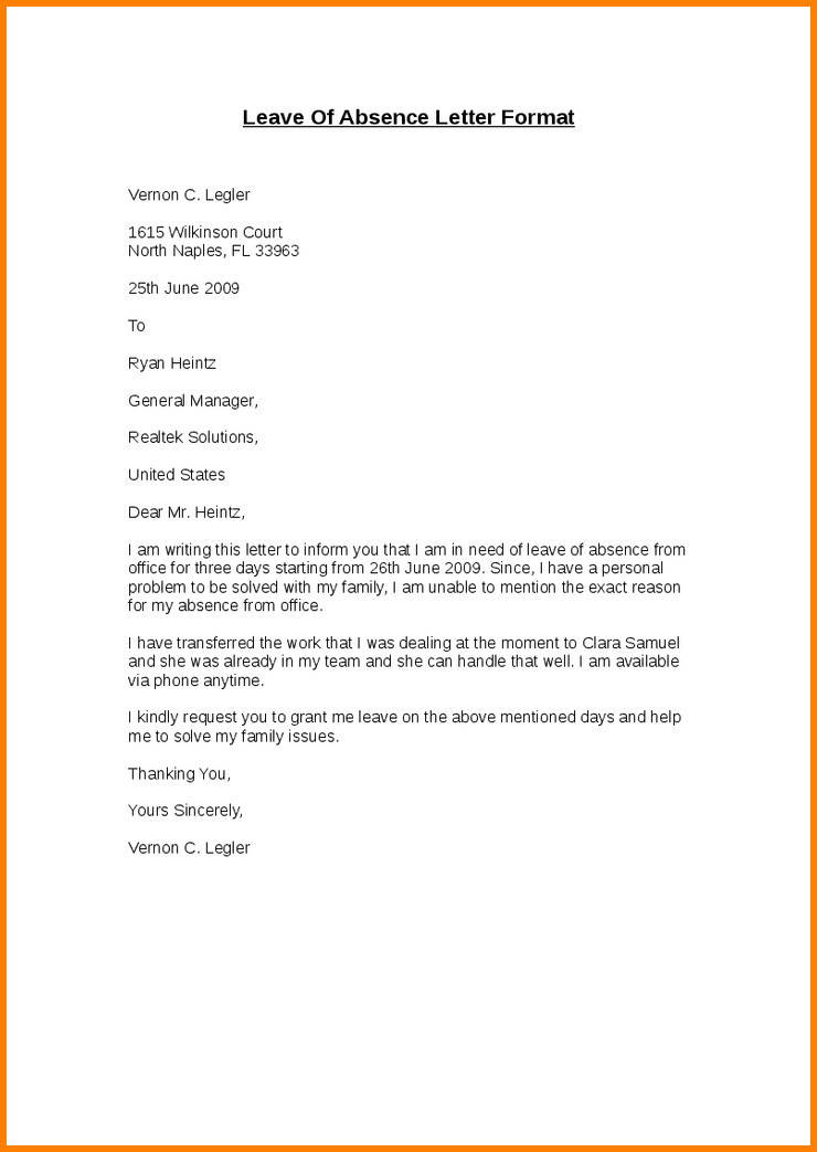 Absence Letter for School 9 Example Of Absence Letter for Student
