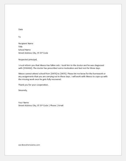 Absence Letter for School Absent Letter to School because Of Sick