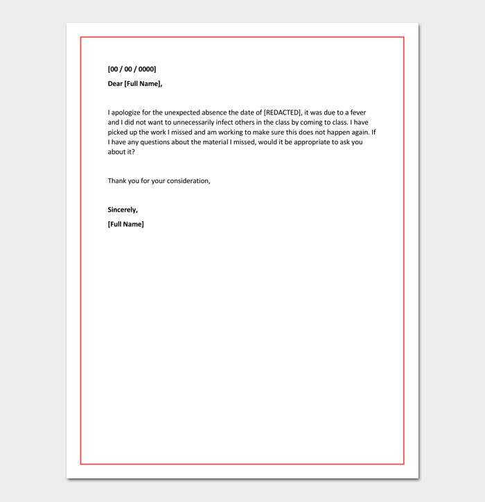 Absence Letter for School Apology Letter for Absence From School Due to Illness