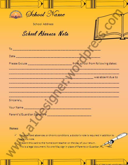 Absence Note for School Certificate Templates