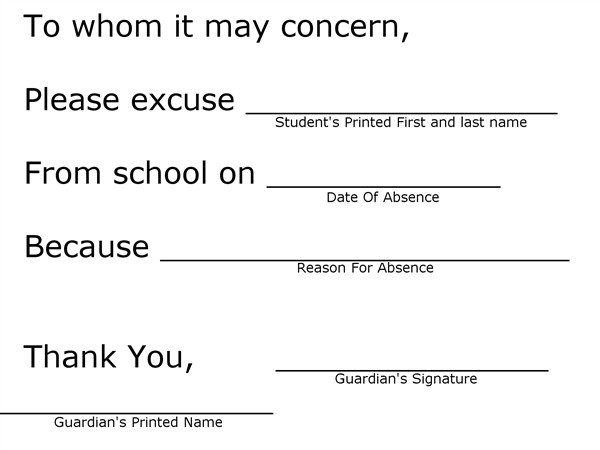 Absence Note for School for Students Student Information