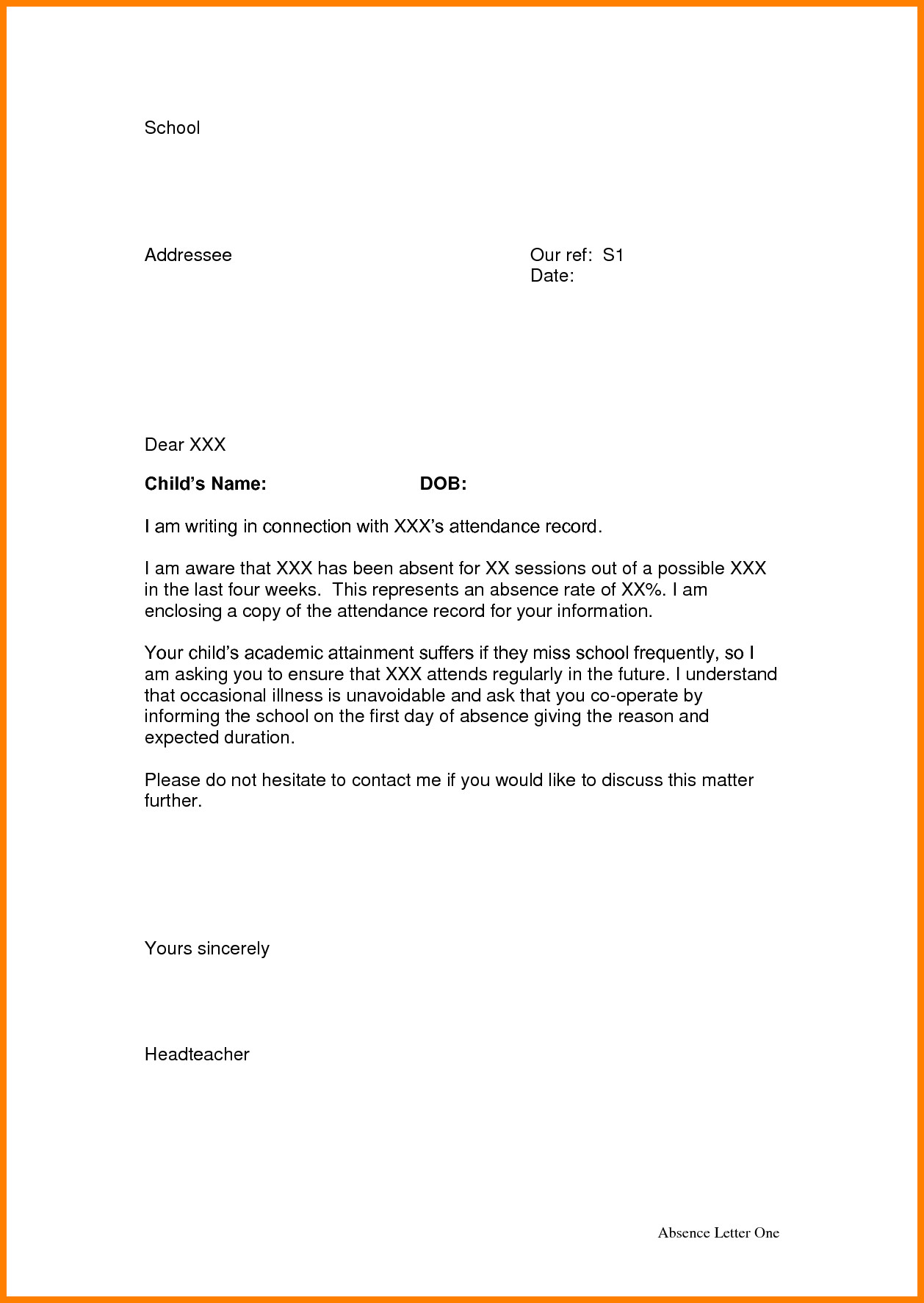 Absent Letters for School 3 Absence Letter From School Appeal Leter