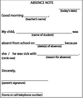 Absent Letters for School Absence Note