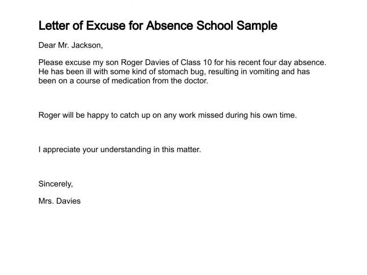 Absent Letters for School Sample Letter Sample Excuse Letter